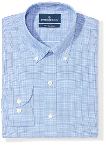 Non Iron Shirt - Buttoned Down Men's Slim Fit Button-Collar Pattern Non-Iron Dress Shirt, Blue Glen Plaid, 16