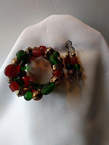 [Uniquely'U Vintage Glass Bead Wrap Bracelet & Earring Set] (Funky Punk Bones Adult Costumes)