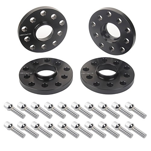 APL 4pcs 15mm 5x112 5x100 Black Hubcentric Wheel Spacers with 20pc Silver Lug Bolts (Ball Radius Seat) for Audi TT A3 A4 A6 A8 S4 S6 S8 Volkswagen Jetta Golf GTI R32 Corrado Beetle EOS CC Passat ()