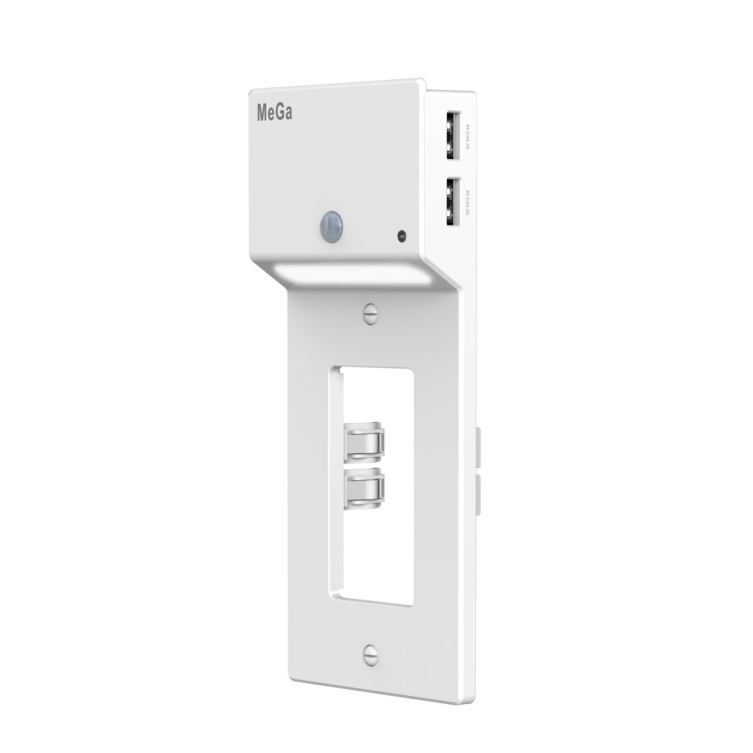MeGa Dual USB Outlet Wall Plate Duplex Receptacle with LED Infrared Motion Detection Sensor & Light Sensor Night Lights,3.1A Dual USB Charger/Charging Station