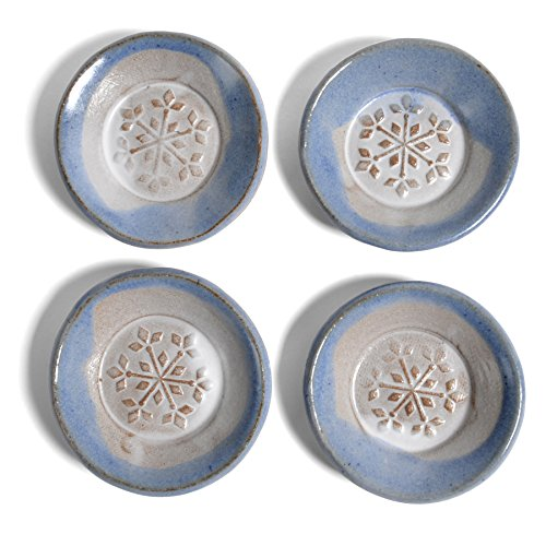 - MudWorks Pottery Snowflake Tea Bag Coasters, Blue and White, Set of 4