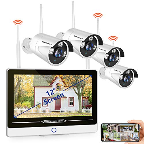 """【2021 NEW-12INCH】SMONET All in One with 12"""" Monitor 1080P Security Camera System Wireless,8-Channel Indoor Outdoor Home…"""