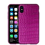 Luxury Case by KEBE Crocodile Belly Leather Lightweight Hardshell Back Cover Case 100% Handmade Shockproof Case for Iphone X 5.8 Inch Purple
