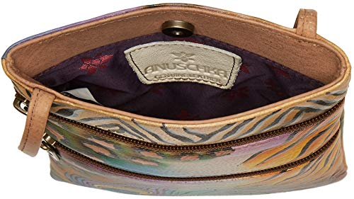 size Leather Genuine Women's Peacock Ocean Double One Travel Painted Hand Safari Anuschka Zip Treasures Bag Oct Crossbody A6Ew5xfTq