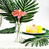 KUUQA 60 Pcs Tropical Leaves Luau Party Decorations Artificial Tropical Palm Monstera Leaves and Hibiscus Flowers for Hawaiian Aloha Jungle Safari Theme Birthday Party Decoration Supplies