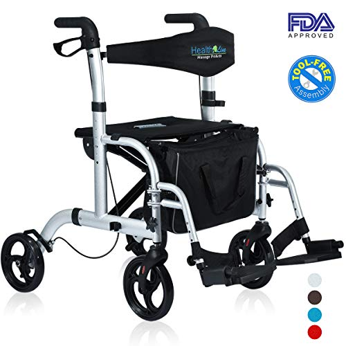 Health Line 2 in 1 Rollator-Transport Chair w/Paded Seatrest, Reversible Backrest and Detachable Footrests, Silver White