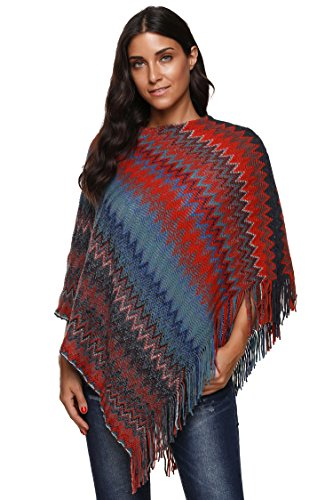 SherryDC Women's Zig-Zag Knit Tassel Fringed Pullover Poncho Sweater Cape Shawl Wrap Blue+red One Size
