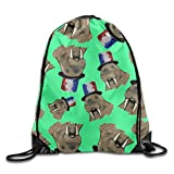 Tattooed Walrus With Cute Hat Drawstring Ripstop Polyester Sackpack Goodie Bag Backpack With Pattern Printing
