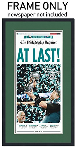 The Philadelphia Inquirer Newspaper Frame - with Philadelphia Eagles Colors Double Mat ()