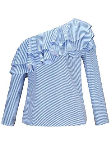 sur Court Avant Chic La Nou Blau Femme Blouse Shirt Et Poches Revers avec Imprim Haut Carreaux Manches Mince Costume Tshirt Poitrine Button Slim sans Top qTU5awU4