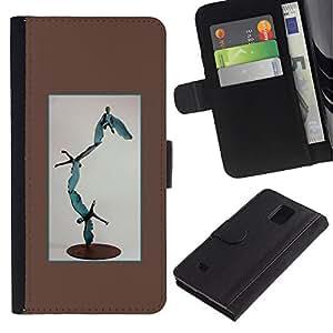 iKiki Tech / Cartera Funda Carcasa - Statue Modern Art Abstract Boy Flying - Samsung Galaxy Note 4 SM-N910