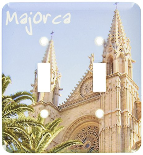 3dRose lsp_155684_2 Majorca Church with Palm Trees Spanish Cathedral of Santa Maria of Palma Religious La Seu Spain Double Toggle Switch by 3dRose
