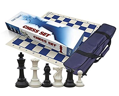 Travel Tournament Chess Set, 34 Chess Pieces, Blue Roll-Up Board and Blue Canvas Tote Bag