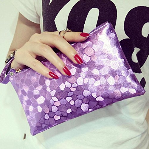 Purple Paymenow Zero Phone Bags Wallet Change Zipper Women Fashion Coins Key Purse Clutch Texture Lively Stone rqZr7C6