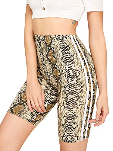 SweatyRocks Women's Sexy Snakeskin Printed Shorts Yoga Bike Active Short Leggings Snakeskin L