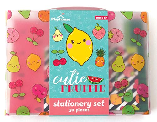 Playhouse 29-Piece Kawaii Cutie Fruitie Stationery Tote Set for Kids -