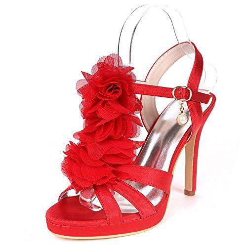 L@YC Women Wedding Shoes Peep Toes Mid Dance 11cm Heel High Heels Satin Buckle Silk Stiletto Flowers Red vEKleP