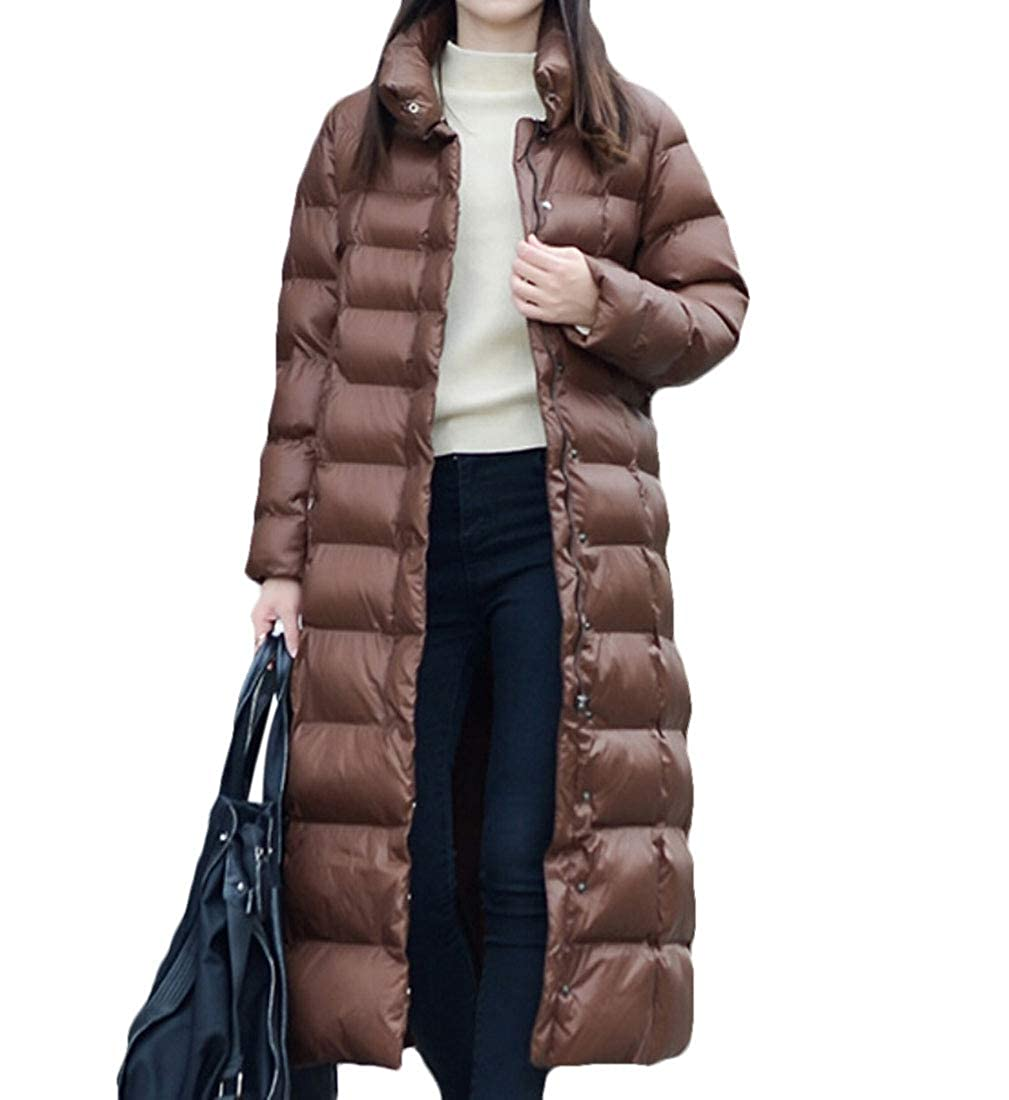 Coffee omniscient Women's Packable Full Zip Ultralight Stand Collar Puffer Long Down Coat