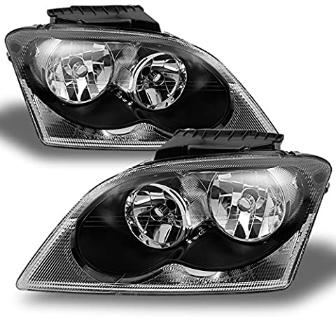 Chrysler Pacifica SUV Black Bezel Headlights Headlamp Front Lamps Replacement Left + Right Pair - Chrysler Pacifica Headlight Replacement