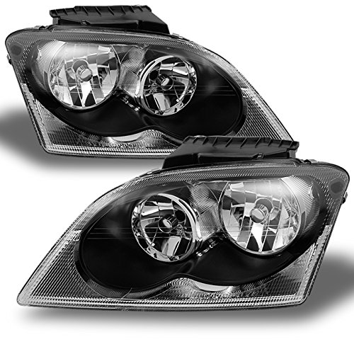 For Chrysler Pacifica SUV Black Bezel Headlights Headlamp Front Lamps Replacement Left + Right Pair