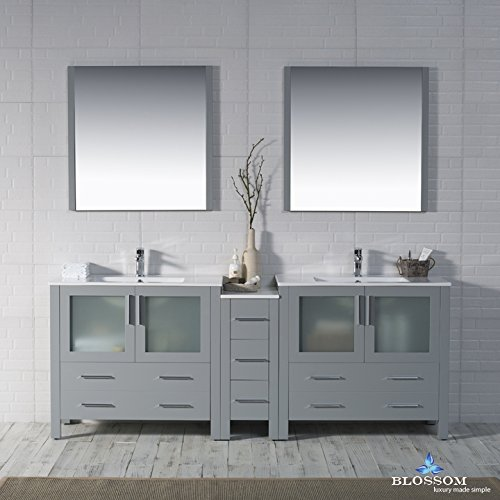 BLOSSOM 001-84-15-D Sydney 84'' Double Vanity Set with Mirrors Metal Gray by Blossom