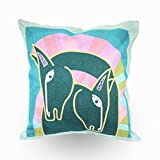 Hodeco Embroidery Throw Pillow Covers 18x18 Decorative Floor Pillows Cover for Couch 100% Cotton Cushion Cover Throw Pillow Case for Bedroom Sofa, Picasso Abstract Horse Embroidered, Blue, 1 Piece
