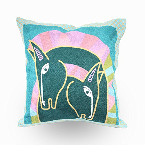 - Hodeco Embroidery Throw Pillow Covers for Couch Pillow Cover 18x18 Inches Decorative Throw Pillow Case, 100% Cotton Pillow Cover, Horse Design, 1 Piece