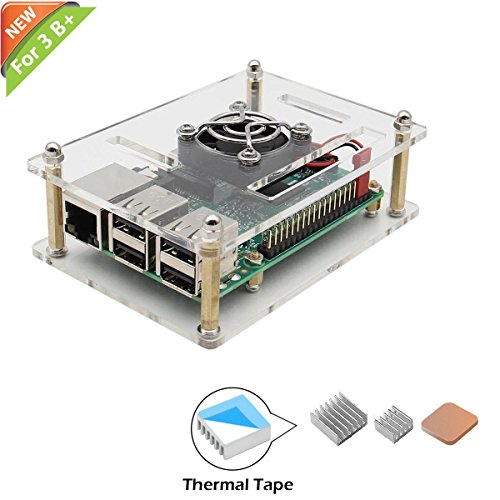 iUniker Raspberry Pi 3 B+ Case, Raspberry Pi Fan with Pi Case Raspberry Pi Heatsink for Raspberry Pi 3 Model B+, Raspberry Pi 3 Model B, Raspberry Pi 2 Model B & Raspberry Pi 1 Model B+