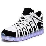 Fashion LED light shoes USB charge colorful lights shoes high couples casual shoes(Black 35/4 B(M) US Women / 3 D(M) US Men)