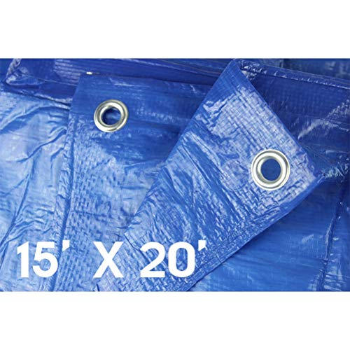 Waterproof Tarps Hanjet 15' x 20' 5-mil Thick Rain Covers Drop Cloths Camping Tents Blue - Perfect for Backpacking, Camping, Shelter, Shade, Ground Cover