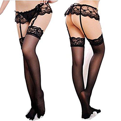 Plus Size Black Lace Garterbelt Set (Cszxx Women's Sexy Lace Suspender Garter Belts and Stocking Sets (Black))