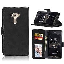 ZenFone 3 (5.5 inch) ZE552KL Case, SATURCASE Retro Frosted PU Leather Flip Magnet Wallet Stand Card Slots Case Cover for Asus ZenFone 3 (5.5 inch) ZE552KL (Black)