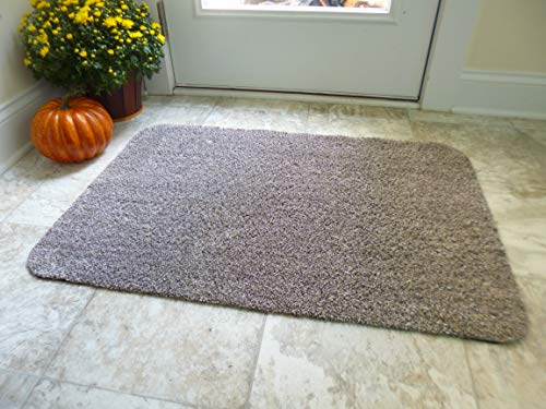 Optimal Home Doormat Indoor, Foyer Entry Mat, Mud Mat, RV Rug, Non Slip Rubber Backed, Traps Dirt, Large 2x3 Low Profile Carpet 24x36,Brown Beige Rug (Best Dirt Trapping Doormat)