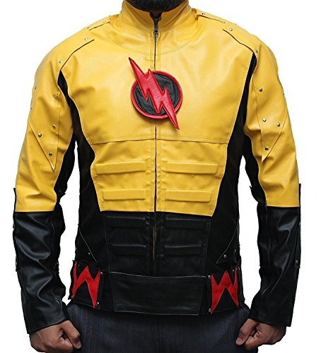 [The Reverse Flash Costume Collection Yellow Synthetic Leather Jacket For Black Friday XL] (Cw Reverse Flash Costume)