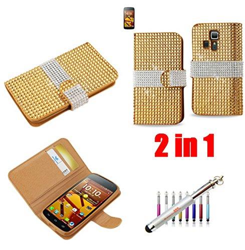 (D-GOLD) Premium Full Diamond Flip WALLET Case FOR Kyocera Hydro Vibe C6725(Sprint&Virgin Mobile) - Carrying Case - Retail Packaging+New SNK Stylus Touch Pen