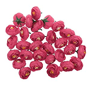 Jili Online Pack of 30pcs Artificial Camellia Flower Craft Silk Heads Wedding Decor 12 Colors - Rose Red, 4cm 62