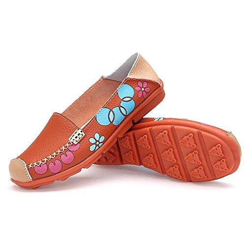 CN40 SHANGXIAN Barco Zapatos US8 Verano Cómodo Cuero EU40 5 Orange 5 Zapatos Pisos Mujeres Orange UK6 Casual FT0ZF