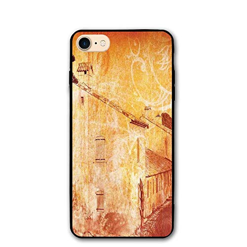 House Old Street (Haixia iPhone 7/8 Phone Shell 4.7 inch Burnt Orange Retro Illustration A Street Old French Houses Mediterranean Environment Print Tan)