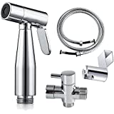AzureLuxe Cloth Diaper Sprayer - Complete Set Premium Stainless Steel Hand Held Diaper Sprayer Kit for toilet attachment with T-adapter and Explosion Free Hose