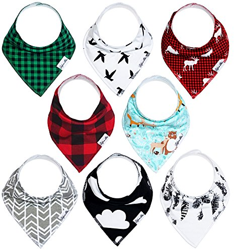 Baby Bandana Drool Bibs Gift Set For Boys And Girls, Unisex 8 Pack Organic Cotton With Snaps