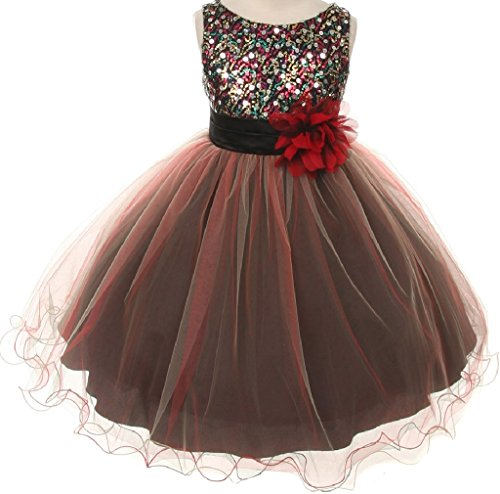 Sleeveless Multi Sequin Trio Big Girl Special Occasion Dresses (32K7D) Red 14 ()