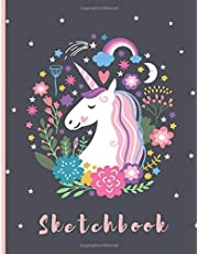 """Sketchbook: A Cute Unicorn Kawaii Large Sketchbook/Notebook:108+ Pages of 8.5""""x11"""" With Blank Paper for Girls To Drawing, Doodling, Journal ,Sketching ... Sketchbook for Kids ( Blank Unlined Edition))"""