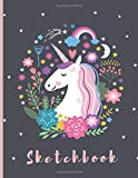 "Sketchbook: A Cute Unicorn Kawaii Large Sketchbook/Notebook:108+ Pages of 8.5""x11"" With Blank Paper for Girls To Drawing…"