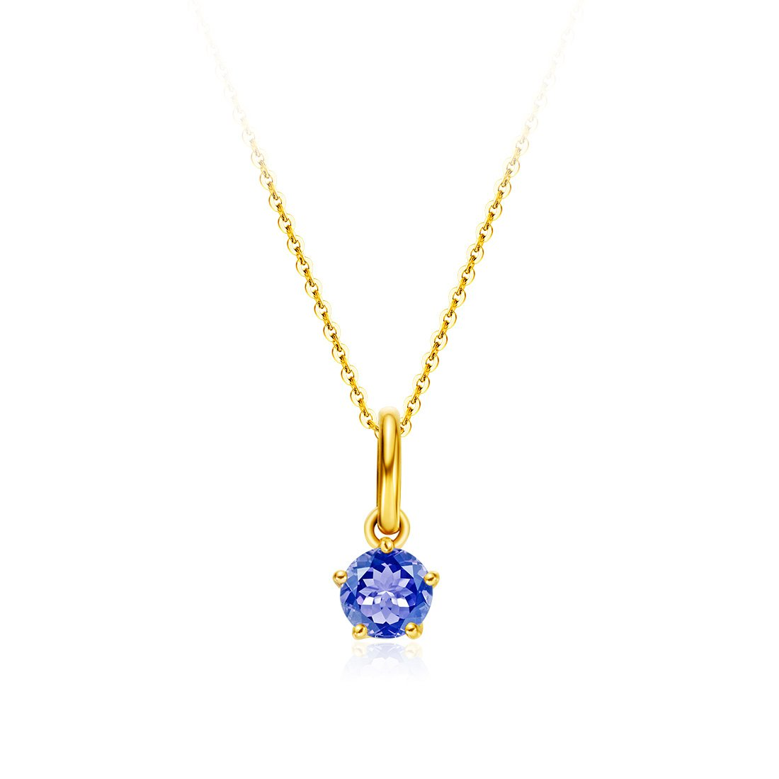 18 inch Carleen Solid 18K Yellow Gold Solitaire Genuine Gemstone Delicate Dainty Birthstone Necklace Pendant Fine Jewelry Birthday Gifts for Women Girls