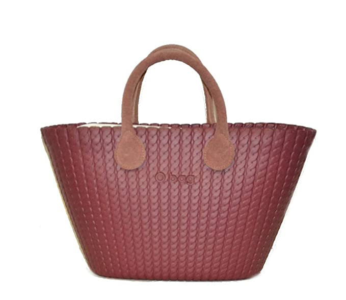 Borsa O bag knit bordeaux manici in pelle e sacca: Amazon.it