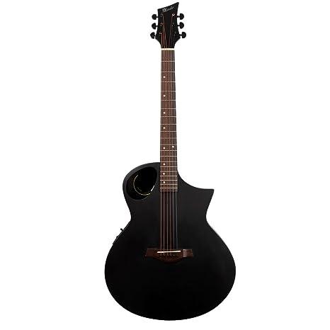 Guitarra electroacústica negro mate lindo Neptuno con preamplificador/LCD afinador y funda de transporte acolchada