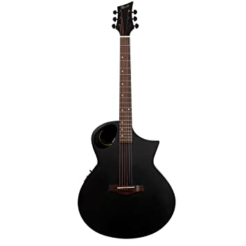 Lindo Neptune Matte Black Electro Acoustic Guitar With Preamp LCD Tuner Padded Carry
