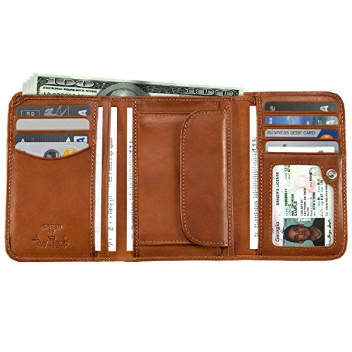Tony Perotti Italian Cow Leather Trifold Clutch Wallet with ID and Coin Pouch, Honey ()