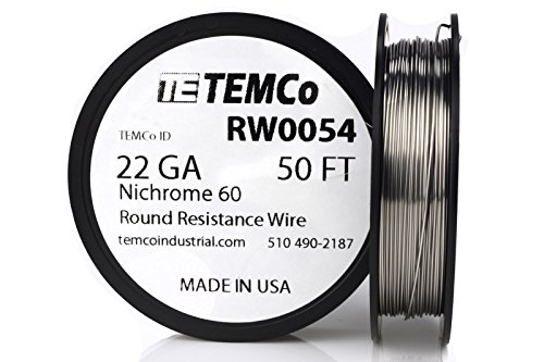 TEMCo Nichrome 60 series wire 22 Gauge 50 Ft Resistance AWG ga