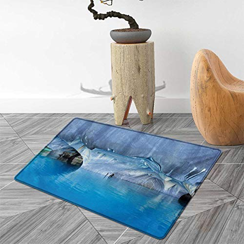 Blue Bath Mats for Bathroom Marble Cave General Carrera Lake in Chile Natural Wonders Rocks Azure Water Door Mats for Inside Non Slip Backing 4'x6' Blue Purplegrey White